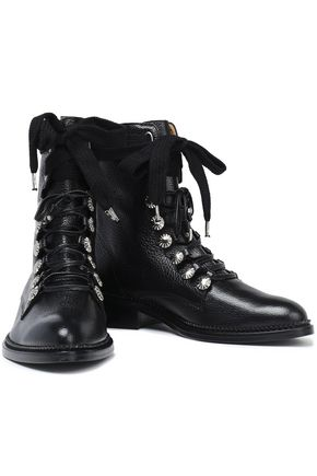 TOGA PULLA Embellished lace-up pebbled-leather ankle boots