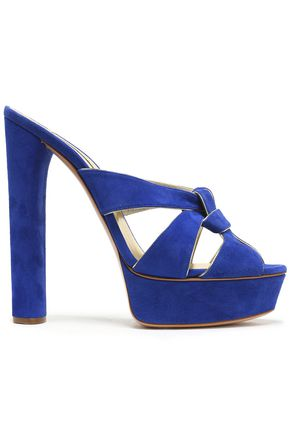 CASADEI Leather-trimmed suede platform sandals