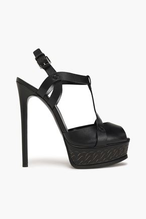 CASADEI Cutout leather platform sandals
