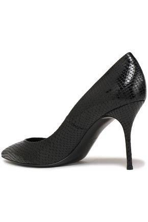 CASADEI Snake-effect leather pumps