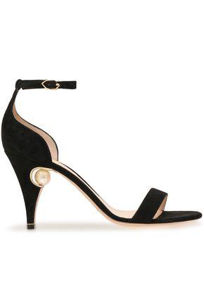 NICHOLAS KIRKWOOD Faux pearl-embellished suede sandals