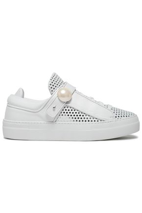 NICHOLAS KIRKWOOD Faux pearl-embellished perforated leather sneakers