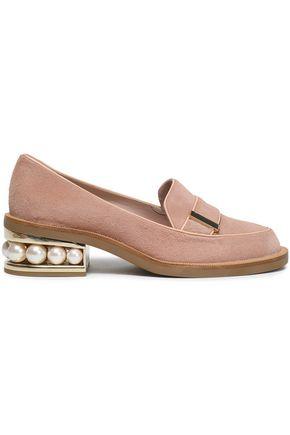 NICHOLAS KIRKWOOD Faux pearl-embellished calf hair loafers