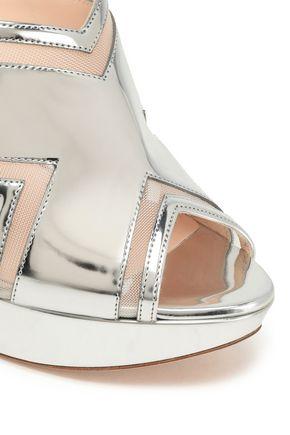 NICHOLAS KIRKWOOD Faux pearl-embellished cutout mirrored-leather platform sandals