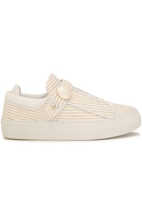 NICHOLAS KIRKWOOD Leather-trimmed metallic raffia woven sneakers