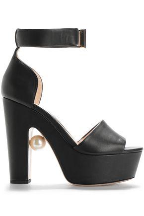 NICHOLAS KIRKWOOD Faux pearl-embellished leather platform sandals