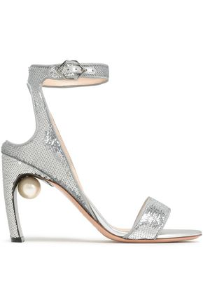 NICHOLAS KIRKWOOD Faux pearl-embellished sequined sandals