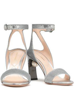 NICHOLAS KIRKWOOD Faux pearl-embellished sequined sandals