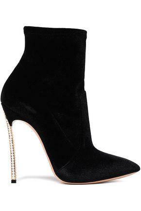 CASADEI Embellished velvet sock boots