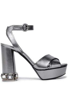 CASADEI Crystal-embellished metallic leather platform sandals