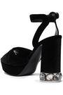 CASADEI Crystal-embellished velvet platform sandals