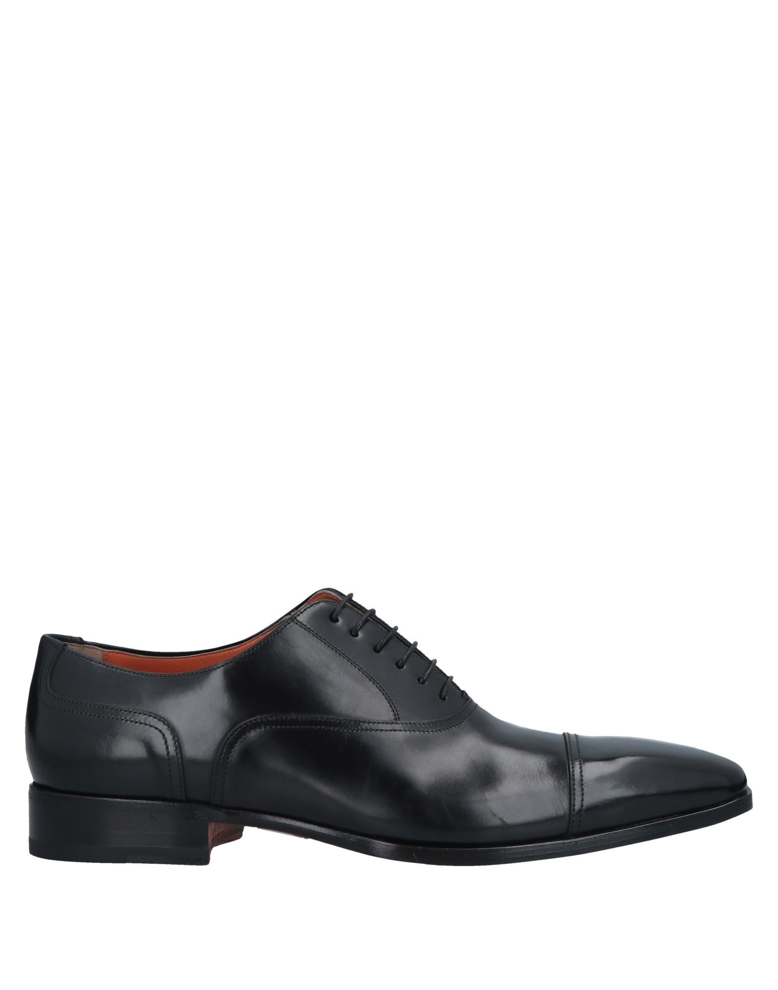 SANTONI Lace-up shoes. polished leather, no appliqués, solid color, square toeline, square heel, leather lining, leather sole, contains non-textile parts of animal origin, large sized. Soft Leather