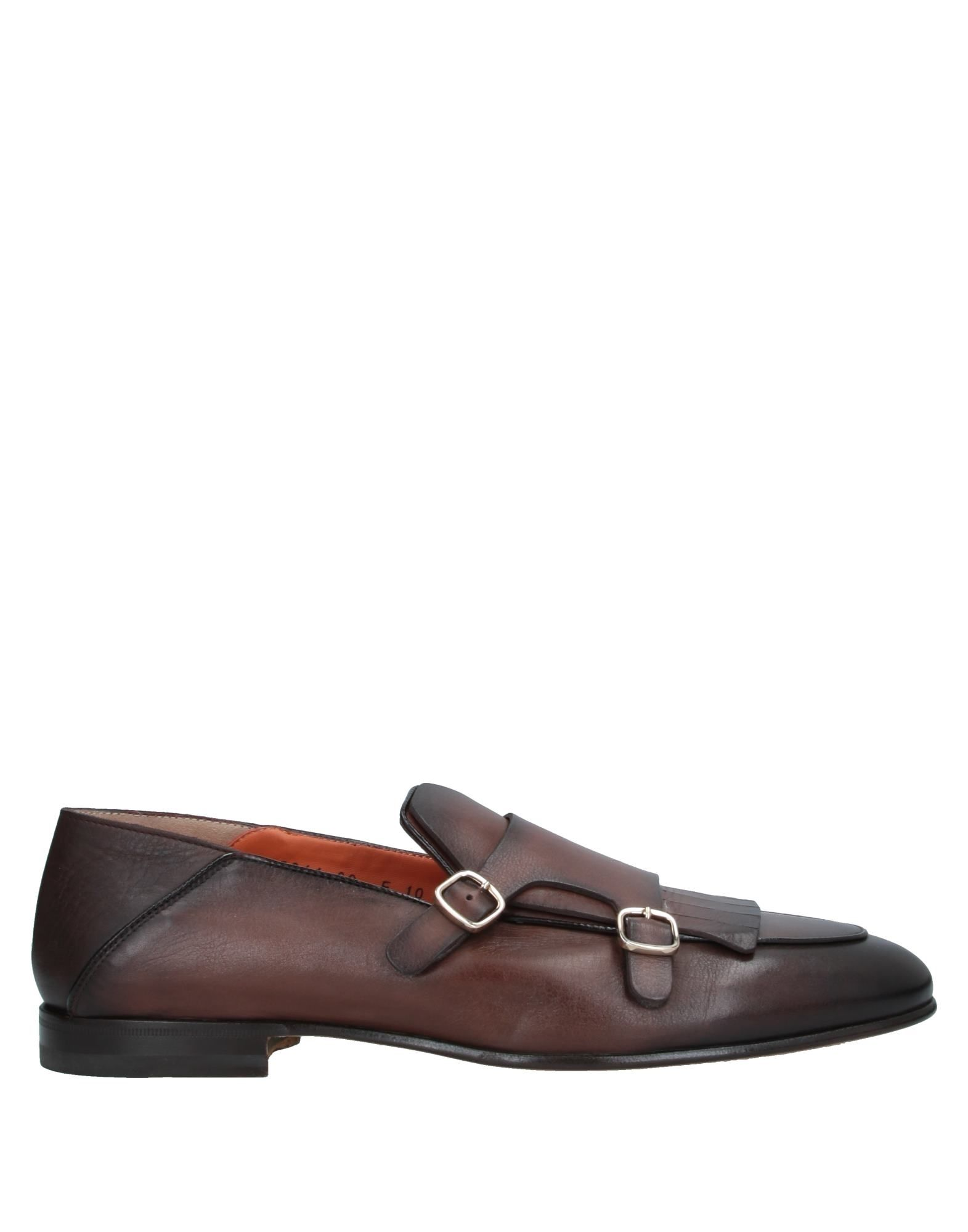 SANTONI Loafers. fringe, solid color, buckle, round toeline, flat, leather lining, leather sole, contains non-textile parts of animal origin, monkstrap, large sized. Soft Leather