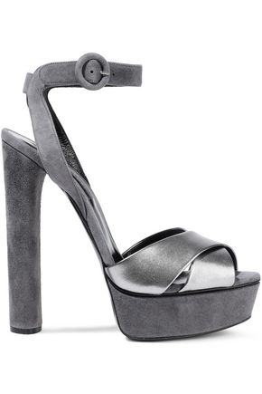 CASADEI Metallic leather and suede platform sandals
