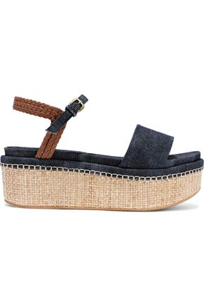 STUART WEITZMAN Braided leather-trimmed denim and raffia platform sandals
