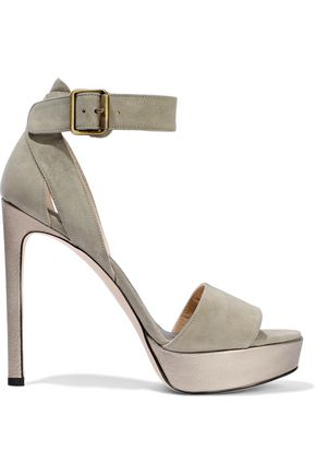 STUART WEITZMAN Metallic leather-trimmed suede platform sandals