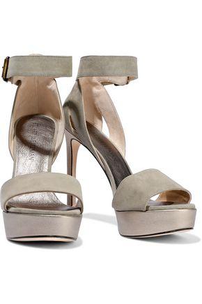 STUART WEITZMAN Metallic leather-trimmed suede platform sandals