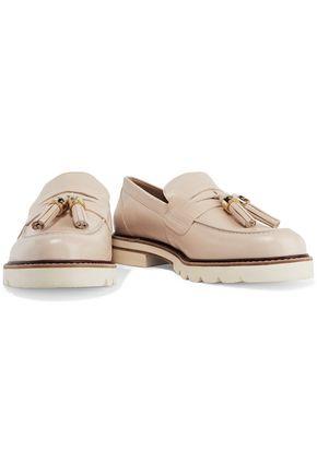 STUART WEITZMAN Tassel-trimmed leather loafers