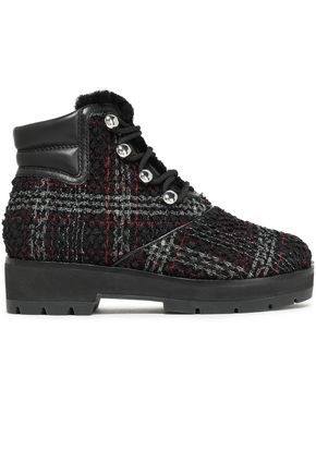3.1 PHILLIP LIM Leather-trimmed checked bouclé-tweed ankle boots