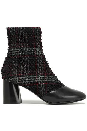 3.1 PHILLIP LIM Drum checked bouclé-tweed and leather ankle boots