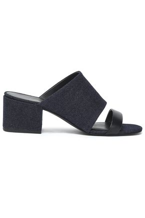 3.1 PHILLIP LIM Cube leather-trimmed denim mules