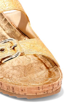 STUART WEITZMAN Metallic cracked-leather slides