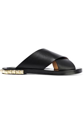 STUART WEITZMAN Studded leather slides