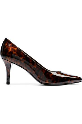 STUART WEITZMAN Tortoiseshell-print patent-leather pumps
