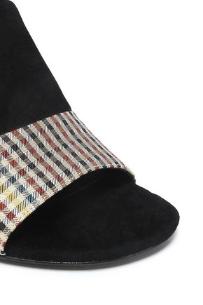 3.1 PHILLIP LIM Drum patchwork checked woven, suede and printed twill sandals