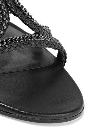 STUART WEITZMAN Samoa chain-trimmed braided leather sandals