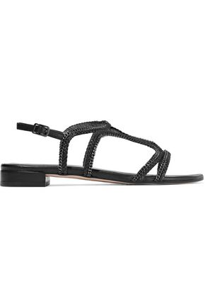 STUART WEITZMAN Samoa chain-trimmed braided leather sandals