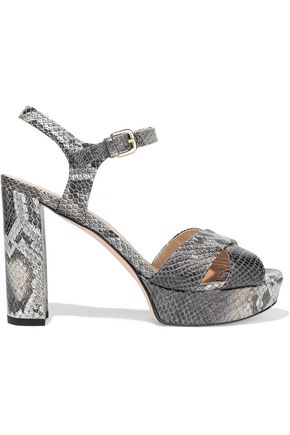 STUART WEITZMAN Python-effect leather platform sandals