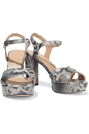 STUART WEITZMAN Python-effect leather platform sandals