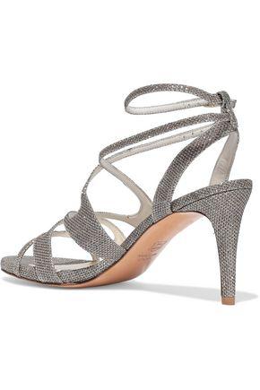 STUART WEITZMAN Cutout lamé sandals