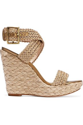 STUART WEITZMAN Metallic crocheted wedge espadrille sandals