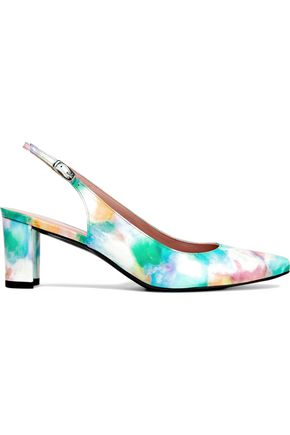 STUART WEITZMAN Printed patent-leather slingback pumps
