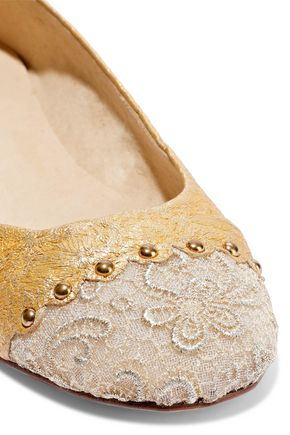 STUART WEITZMAN Studded lace and metallic cracked-leather ballet flats