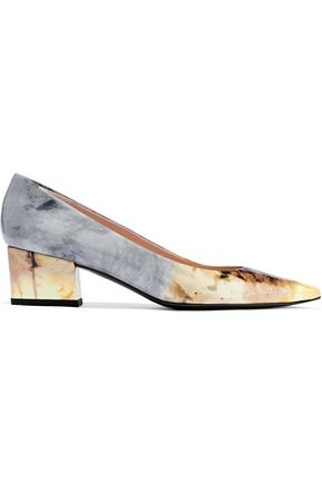STUART WEITZMAN Printed patent-leather pumps
