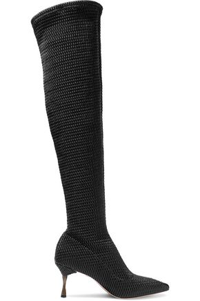 ALICE + OLIVIA Merna woven faux leather over-the-knee boots