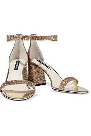 ALICE + OLIVIA Lillian mirrored leather-trimmed glittered woven sandals