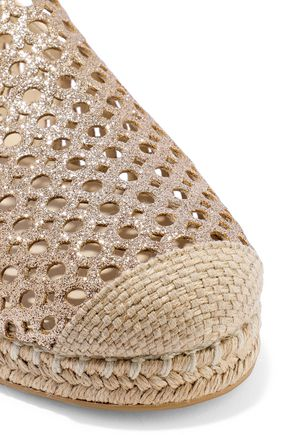 STUART WEITZMAN Smooth and laser-cut glittered leather espadrilles