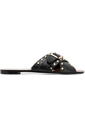 STUART WEITZMAN Student buckled studded leather slides