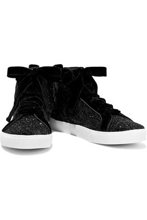 c8811a635ec4 ALICE + OLIVIA Camil velvet-trimmed glittered woven high-top sneakers