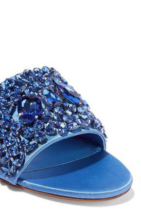 ALICE + OLIVIA Abbey crystal-embellished satin slides