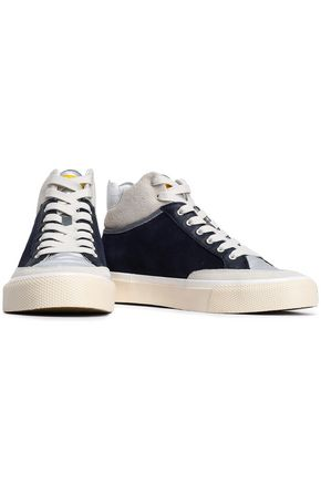 RAG & BONE RB Army suede, leather and coated-shell high-top sneakers