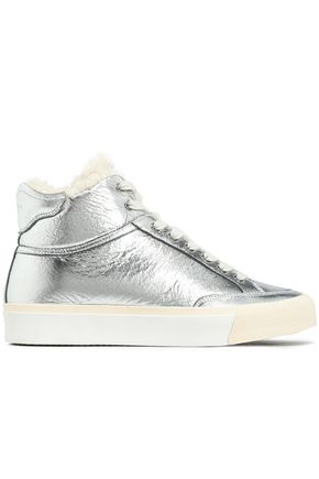 RAG & BONE Shearling-lined metallic leather high-top sneakers