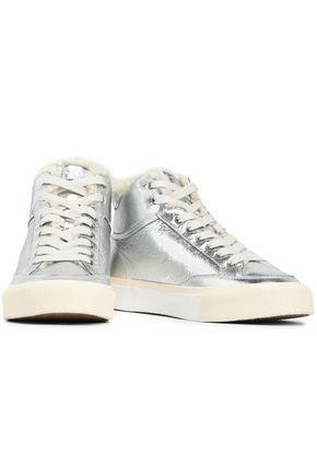 RAG & BONE Shearling-lined metallic leather high-top sneakers