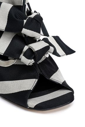 MIISTA Aldara leather-trimmed knotted gingham canvas sandals