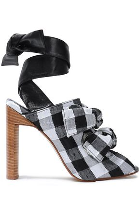 MIISTA Leather-trimmed striped canvas sandals