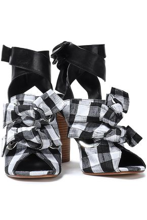 fb7b28e6372 MIISTA Aldara leather-trimmed knotted gingham canvas sandals